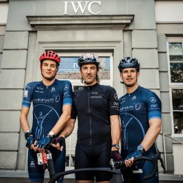 SCHAFFHAUSEN, AUGUST 17: For the 9th consecutive year IWC Schaffhausen kicked off the TORTOUR, the biggest multiday nonstop ultracycling event in the world. Together with the brand ambassador and  two-time Olympic gold medallist Fabian Cancellara IWC's CEO Christoph Grainger-Herr forms the team Laureus-IWC. All participants will donate for a philantrophic project of the Laureus Sport for Good Foundation Switzerland. (Photo by Remy Steiner/Getty Images for IWC)